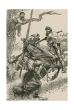 The Knight of the Mirrors Was Hurried, in Spite of Himself, over His Horse's Crupper Giclee Print by Paul Hardy