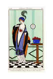 Parisian Clothing: White Charmeuse Robe with Violet Embroidered Silk Tunic, 1913 Giclee Print by Robert Pichenot