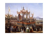Francis I and Maria Isabella Attending Official Ceremony at Arsenal of Naples Giclee Print by Salvatore Fergola