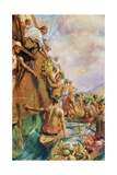 The Arrival of Captain James Cook in Tahiti in 1769 Giclee Print