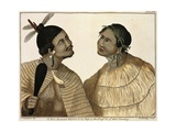 Warrior and His Wife Dressed in Traditional New Zealand Costume Giclee Print by Sydney Parkinson