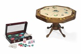 Wooden Pedestal Poker Table with Nine Player Positions Photographic Print