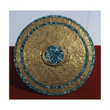 Engraved Gold Disk and Turquoise Mosaic, Artifact Originating from the Castle of Chichen Iza Giclee Print