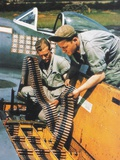 Soldiers Loading Ammunition and Weapons into a Republic P-47 Thunderbolt, Southern England, 1944 Photographic Print