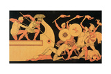 Ajax Defending the Greek Ships Against the Trojans, Reproduction of a Greek Vase Giclee Print by  English School
