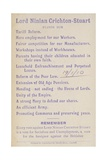 Election Manifesto of Lord Ninian Crichton-Stuart, British Unionist Politician, 1910 Giclee Print