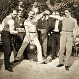 Group Photo of Athletes Flexing Muscles with Weights and a Medicine Ball, C.1910 Photographic Print