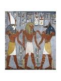 Rameses I Between Horus and Anubis, Fresco, Burial Chamber, Tomb of Ramesses I Giclee Print