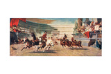 A Roman Chariot Race, Illustration from 'Hutchinson's History of the Nations' - Giclee Baskı