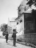 Us Paratrooper Fires into Church Steeple at Sainte Mere Eglise to Clear Enemy Sniper, 6th June 1944 Photographic Print