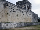 The Wall for the Game of Pelota and the Temple of Tigers or Jaguars, Chichen Itza Photographic Print