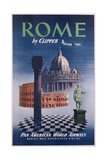Poster Advertising Flights to Rome by Clipper, Produced by Pan American Airlines, C.1950 Giclee Print