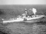 Uss New Jersey Fires 16-Inch Salvo Against Enemy Shore Target, 6th June 1951 Photographic Print