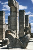 Colonnade of Temple of Warriors, with Statue of Chac-Mool in Foreground, Chichen Itza Photographic Print