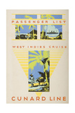 Passenger List for the West Indies Cruise Aboard the S.S. Franconia, 2nd December, 1930 Giclee Print