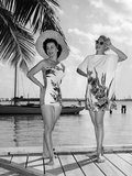 Two Women Model Catalina Beach Wear on Location in Miami Beach, December 26, 1950 Photographic Print