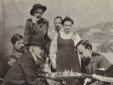 Lenin Playing Chess with a A Bogdanov During His Visit to a M Gorky on Capri, Italy, 1908 Photographic Print