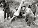 American Gunners Firing a 105mm Howitzer, Valognes, Normandy, France, June 1944 Photographic Print