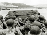 U.S. Soldiers Watch the Normandy Coast from a Landing Craft Vehicle, Personnel Photographic Print