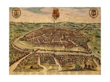 Spain, Seville, View of the City, Color Engraving from Civitates Orbis Terrarum Giclee Print