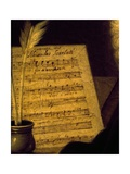 Sheet Music of the Sonata Fin Che M'Ucciderete, Detail from a Portrait of Alessandro Scarlatti Lámina giclée