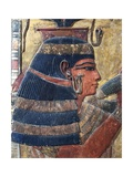 Painted Bas-Relief Depicting Goddess Hathor from the Valley of the Kings, Tomb of Seti I Giclée-tryk