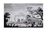 Small Altar with Offerings on Huahine Island, Engraving from Drawing by John Webber Giclee Print