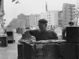 Construction of the Berlin Wall at the Corner of Lindenstrasse and Zimmerstrasse, 18 August 1961 Photographic Print