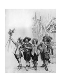 Athos, Porthos, Aramis and D'Artagnan, Illustration for the Three Musketeers by Alexandre Dumas Giclee Print