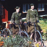 Two American Women with Bicycles in Front of a House, Southern England, June 1944 Photographic Print