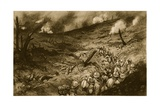 A Maelstrom of the Meuse: French Infantry Debouching to Attack a Flaming Ridge Near Douaumont Giclee Print