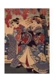 Two Women in a Flower Garden, by Utagawa Kunisada Giclee Print by Utagawa Kunisada