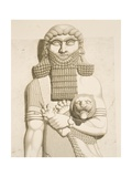 Relief Depicting a Man and a Lion Giclee Print by Eugene Flandin