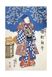 Japanese Actor in Kimono and Background Decorated with Apple Blossoms Giclee Print by Utagawa Toyokuni