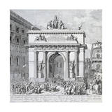Triumphal Arch Erected by Pope Pius VII in Piazza Venezia on Occasion of His Return to Rome Giclee Print