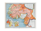 Map of French West and Equatorial Africa, from a School Geography Textbook, 1938 Giclee Print