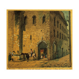 Spain, Barcelona, Duke of Medinaceli Square. Fountain and Entrance at the Saint Francis Convent Giclee Print
