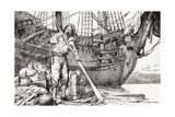 Robinson Crusoe Rowing to Safety on a Raft after Being Shipwrecked Giclee Print
