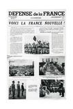 Voici La France Nouvelle, Front Page of 'Defense De La France', Published September 3 1943 Giclée-tryk