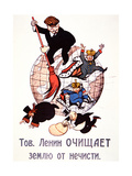 Bolshevik Poster Depicting Lenin Sweeping Away Emperors, Clergy and Capitalists, 1917 Giclee Print
