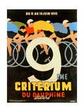 Advertisement for the 9th 'Criterium Du Dauphine Libere' Cycling Race of 1955 Giclée-trykk