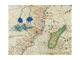 The Indian Ocean and Part of Asia and Africa: Spring of the Nile River and Madagascar Giclee Print by Battista Agnese