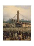 Raising Obelisk of Luxor Giclee Print by Francois Dubois