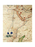 The Indian Ocean and Part of Asia and Africa: the Course of the Nile River Giclee Print by Battista Agnese