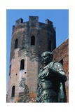 One of the Polygonal Towers and Statue of Julius Caesar, Porta Palatina, Turin, Piedmont, Italy BC Giclee Print