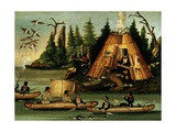 Micmac Tribe Hunters and Fishermen Giclee Print
