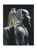 Pharaoh Khafre on the Throne with the Wings of the Falcon God Horus Wrapped around His Head Giclee Print