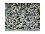 Marble Sarcophagus with Relief Depicting Scene of Battle Between Romans and Germans Giclee Print