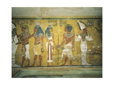 Mural Paintings of Pharaoh and Ka Meeting Osiris in Burial Chamber from 18th Dynasty Giclee Print