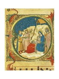 Illuminated Initial Capital Letter O Portraying the Adoration of the Magi Giclee Print